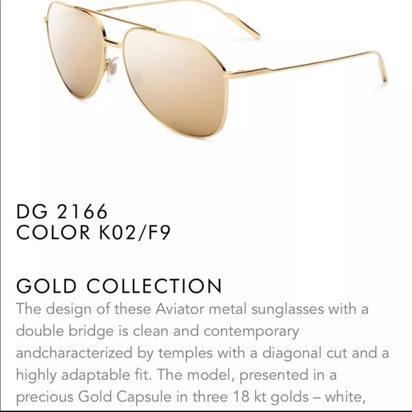 replicas pretty and colorful to buy Dolce & Gabbana Limited edition 18k Gold aviators NWT
